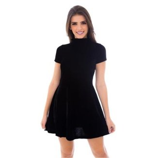 cb5ecbb0f568 Vestido Moda Vicio Gola Alta Manga Curta Soltinho Feminino