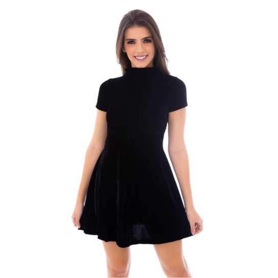 9def22a4c1 Vestido Moda Vicio Gola Alta Manga Curta Soltinho Feminino - Preto ...