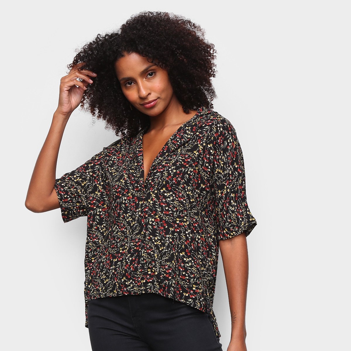 Camisa Manga Curta The Style Box Floral Assimétrica Feminina
