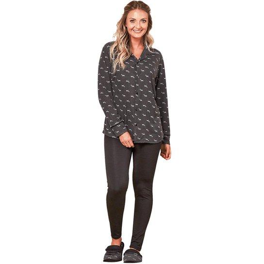 c1803ee06 Pijama de Inverno Feminino com Abertura Luna Cuore - Compre Agora ...