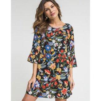 f2d621df0 Vestido Zinzane Tecido Caixinha Estampa Floral Gisela