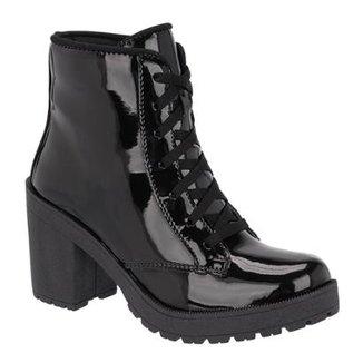 7ab1f74063 Bota World Boot Verniz Salto Alto Feminino