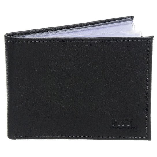 7e761852b0b04 Carteira Masculina FKV Em Couro | Para Seis Cartões com Plásticos e Porta  Documento - Preto