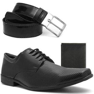 c85039449c Sapato Social com Texturas e Fivela com Cinto e Carteira Zadock Shoes Verniz  Masculino