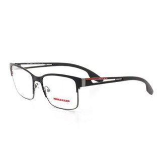 6b032467329b1 Armação De Óculos De Grau Prada 55I T 55 C 6Bj-1O1 Masculino