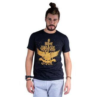 1dab707986 Camiseta Mister Fish Estampado Rock and Roll Masculina