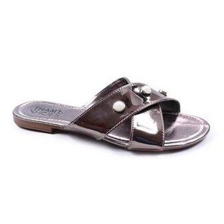 43875c6f7e Rasteira Thamy Shoes Tiras Cruzada Specchio Pérolas Feminina