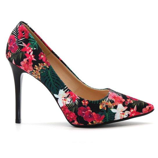 da42ac0630 Scarpin Royalz Tecido Floral Cravo Feminino - Preto