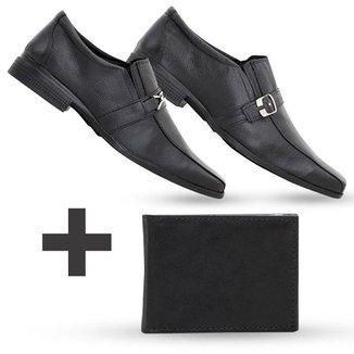 2c3cf8357 Kit Carteira + 2 Sapatos Social Em Couro Top Flex Com Fivela