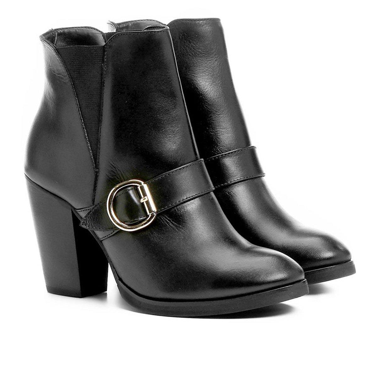aa81fb4ee0 ... Couro Cano Curto Shoestock Fivela Feminina