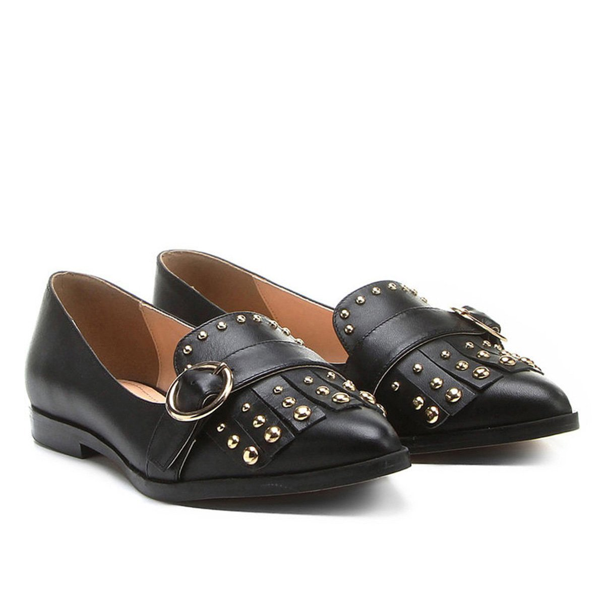 a6ffa1f499 Mocassim Couro Shoestock Bico Fino Mix Metais Feminino