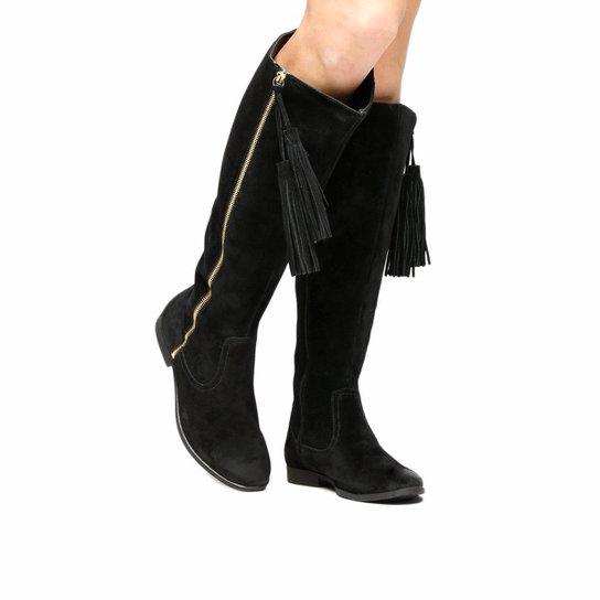 7ced52bad Bota Couro Over the Knee Shoestock Barbicacho Feminino - Preto | Zattini