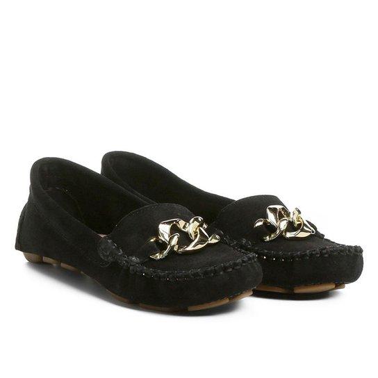 f6704c5026 Mocassim Couro Shoestock Drive Corrente Feminino - Preto - Compre ...
