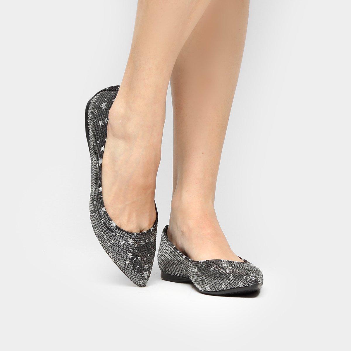 01e9e64db2 70%OFF Sapatilha Shoestock Bico Fino Bordado Preto