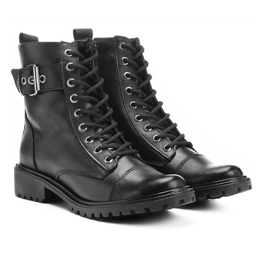 3672615f1 Bota Couro Coturno Shoestock Fivela Feminina | Zattini