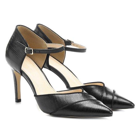 6f2337d1c0 Scarpin Couro Shoestock Salto Alto Bico Fino Semi Aberto Lizard - Preto