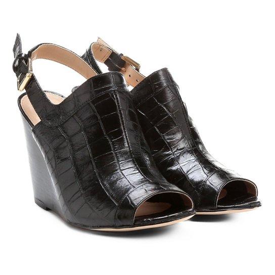 bf89c3eb57 Sandália Anabela Couro Shoestock Abotinada Feminina - Preto