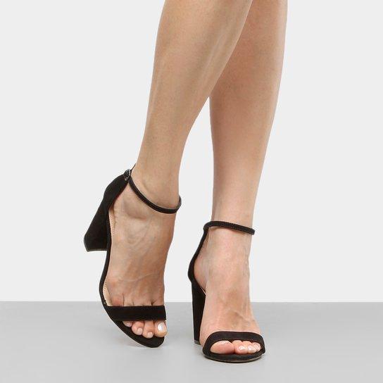 198411e93f Sandália Couro Shoestock Salto Grosso Naked Feminina - Preto