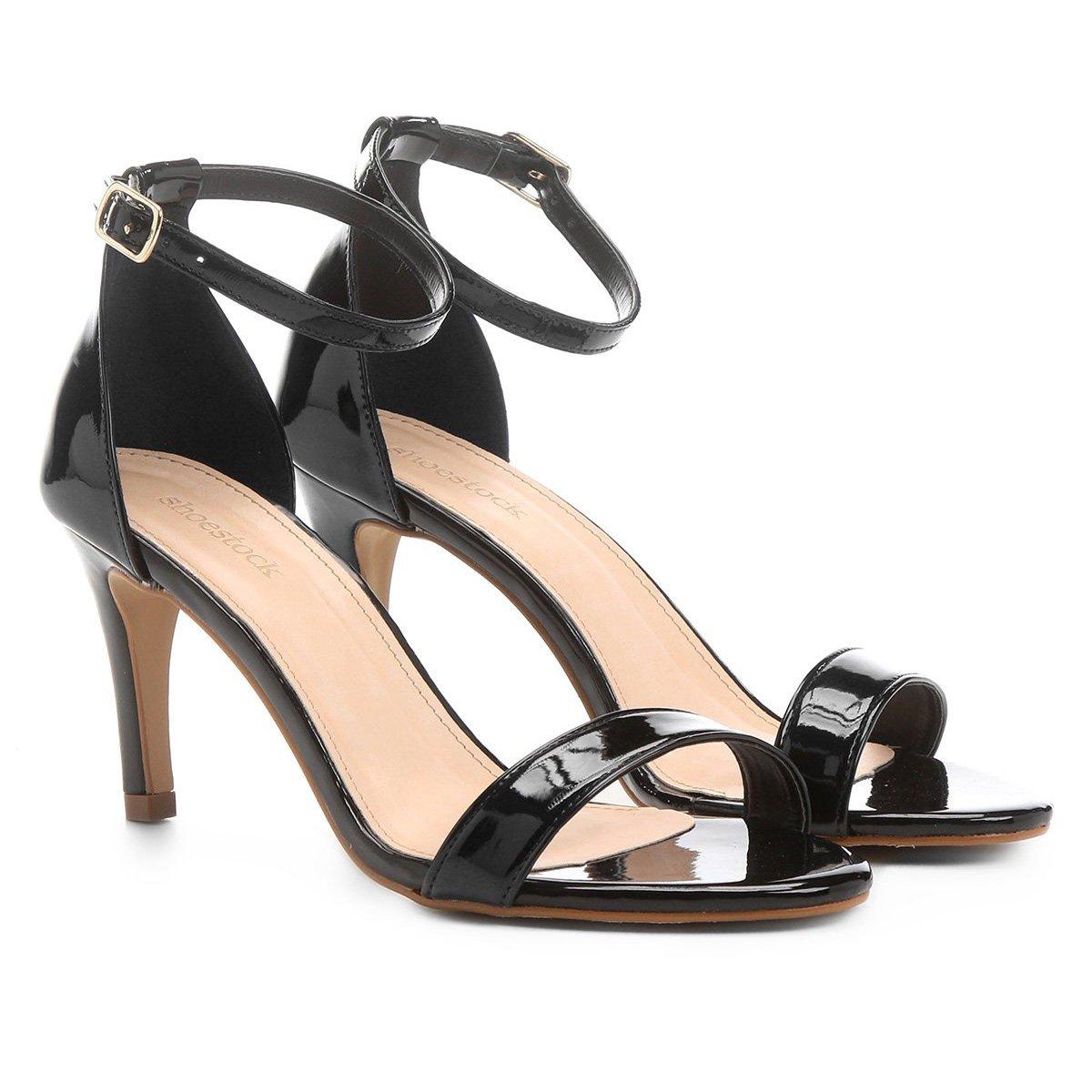 290e394a6 Sandália Shoestock Naked Salto Fino Verniz Feminina