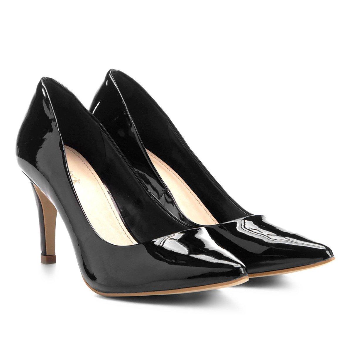 f6566b9ca Scarpin Shoestock Salto Médio Bico Fino Verniz