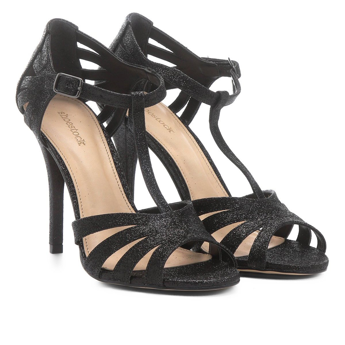 07292ac9f5 Sandália Shoestock Salto Fino Shine Feminina
