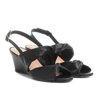 006b69b67 Sandália Anabela Couro Shoestock Drapeado Feminina