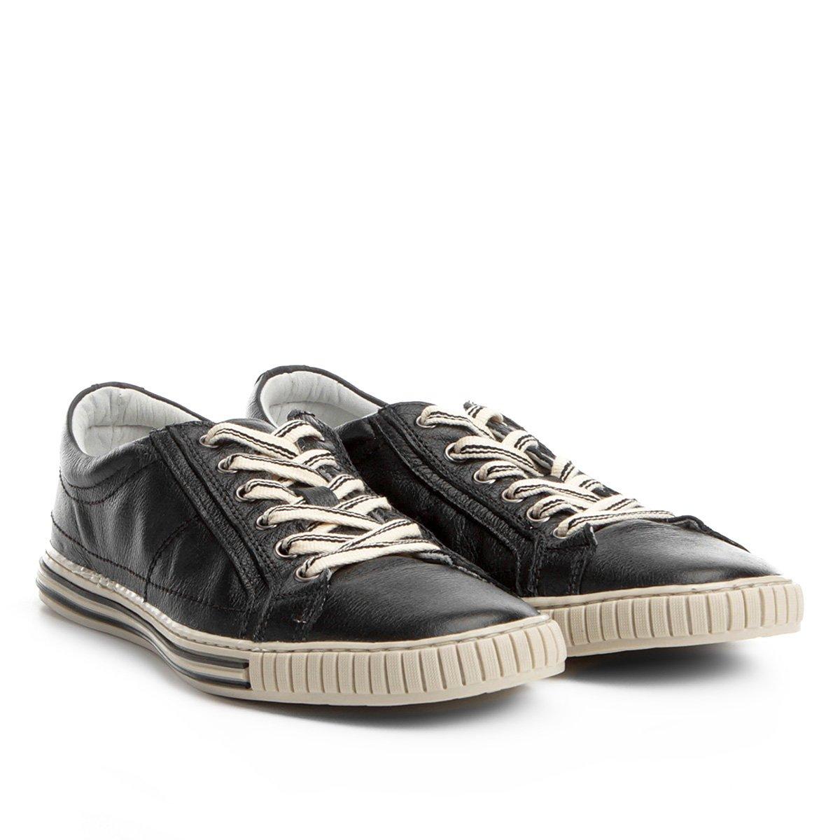 ae8d8083dc Sapatênis Couro Shoestock Listras Masculino