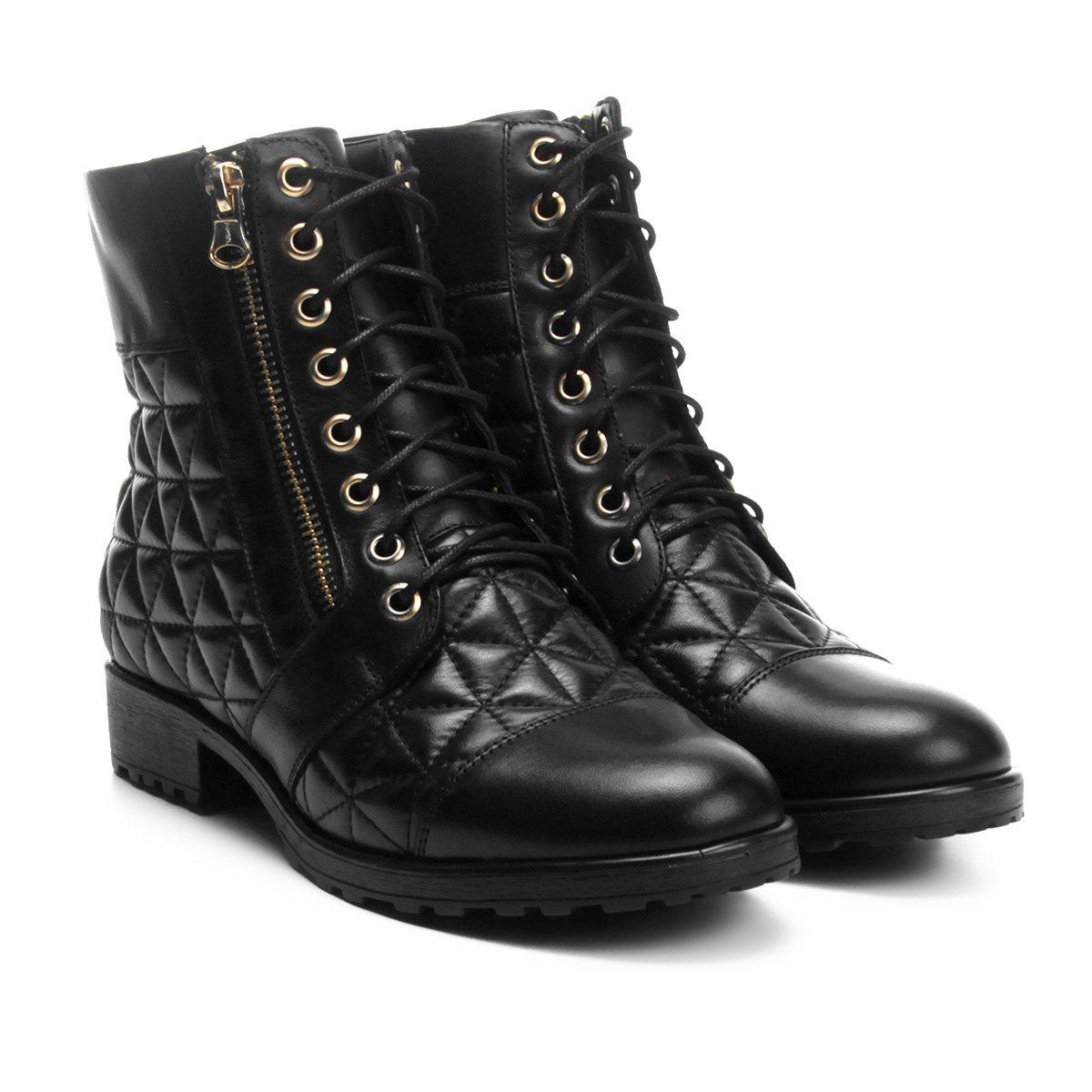 8f90bafcfb Bota Couro Cano Curto Shoestock Coturno Matelassê Feminina