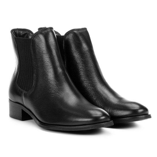b9a07b399d Bota Chelsea Shoestock Flat Couro Feminina - Preto - Compre Agora ...