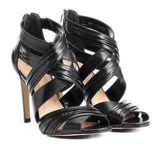5137ffbe3 Sandália Couro Shoestock Salto Fino Drapeada Feminina