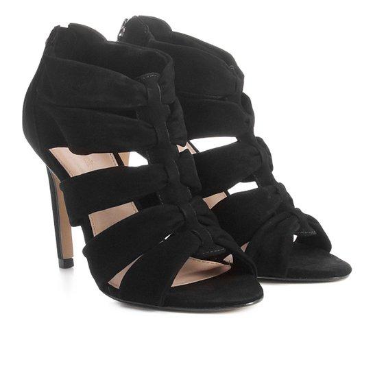 c881c7fbe Sandália Couro Shoestock Salto Fino Faixas Feminina - Preto | Zattini
