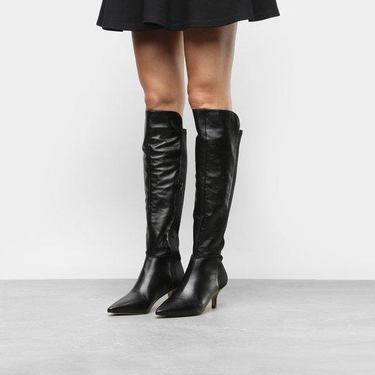 03d4c9095 Bota Couro Over The Knee Shoestock Salto Baixo Neoprene Feminina - Preto