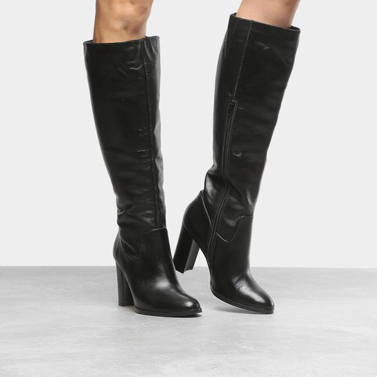 e4856e4b9 Bota Couro Cano Longo Shoestock Salto Grosso Feminina - Compre Agora ...