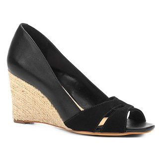 Peep Toe Anabela Shoestock Corda Mix Couros