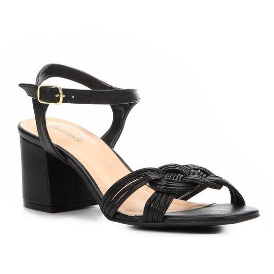 cc6562809 Sandália Shoestock Salto Bloco Tranças Feminina - Preto - Compre ...