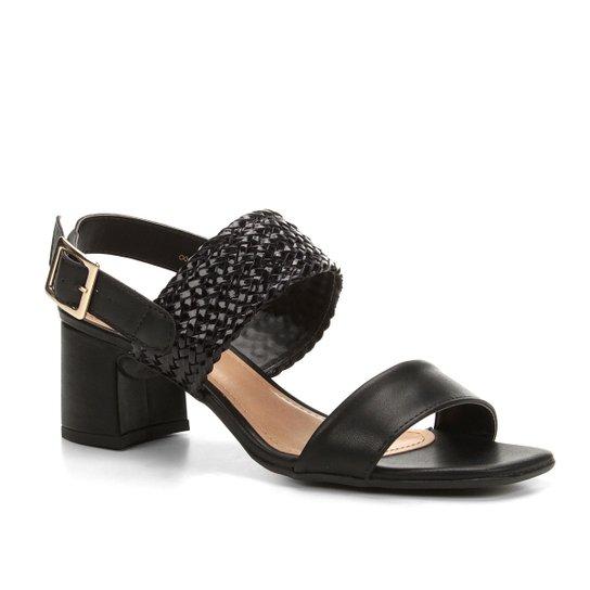 b01b674509 Sandália Shoestock Salto Bloco Tranças Feminina - Preto - Compre ...