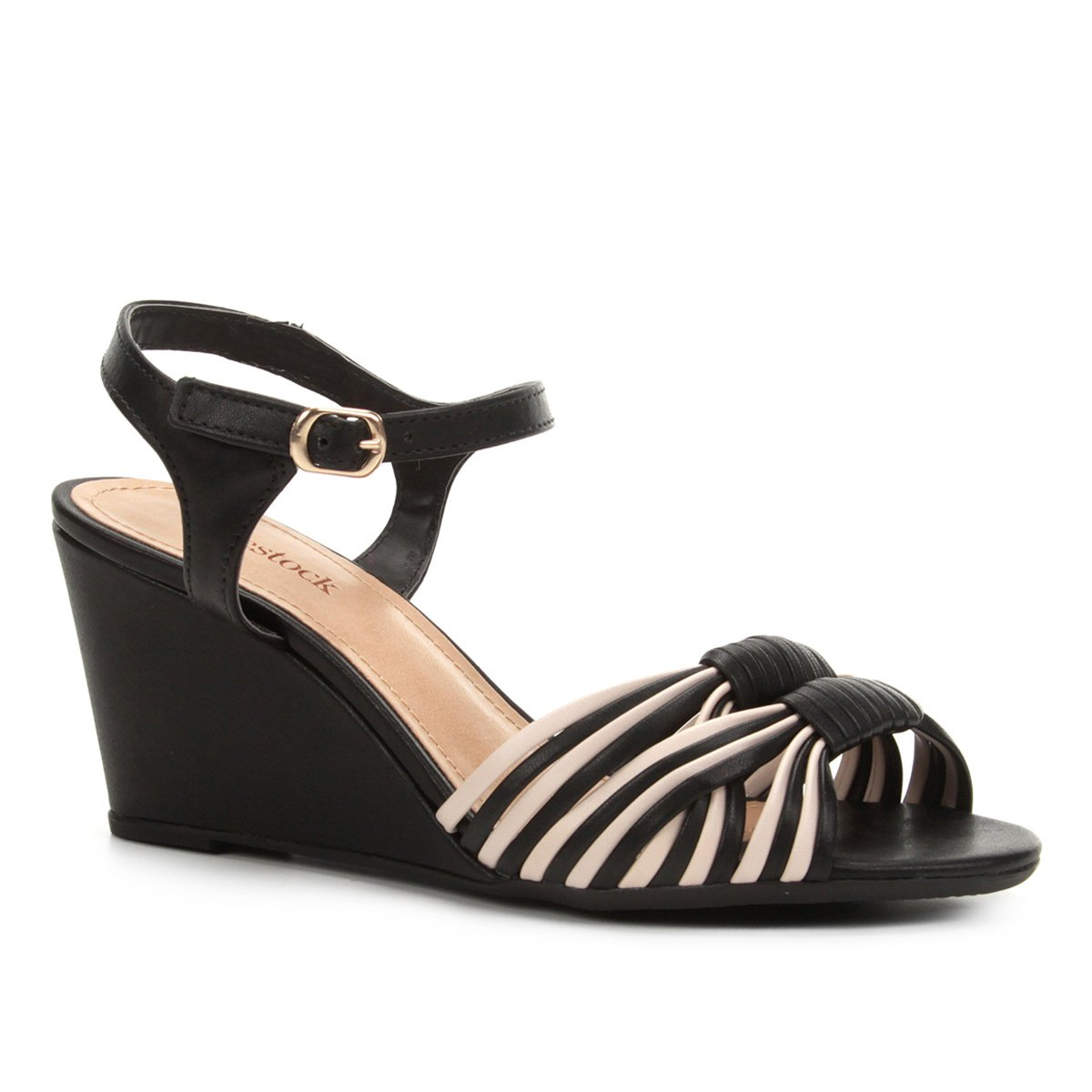 8f542a2c5 Sandália Anabela Shoestock Tiras Bicolor Feminina