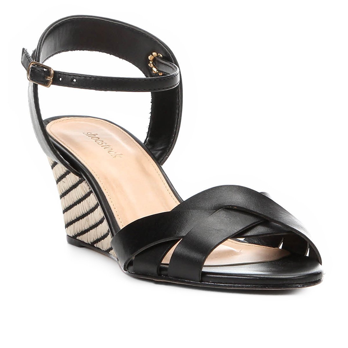 227b68c045 Sandália Anabela Couro Shoestock Ráfia Feminina