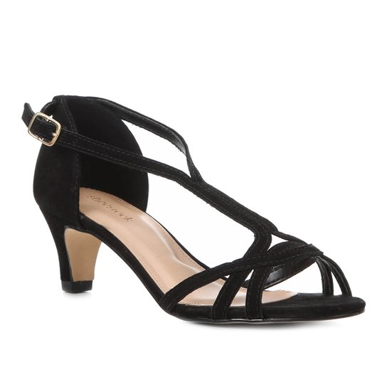 1645f2f64a Sandália Couro Shoestock Salto Baixo Nobuck Feminina - Preto