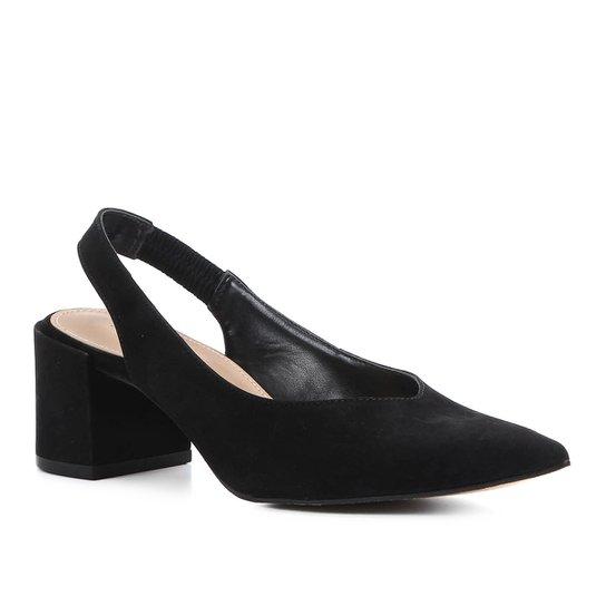 4fe6066d47 Scarpin Couro Shoestock Slingback Salto Baixo - Preto