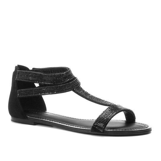 c156acc3ab Rasteira Couro Shoestock Nobuck Mini Cristais - Preto - Compre Agora ...