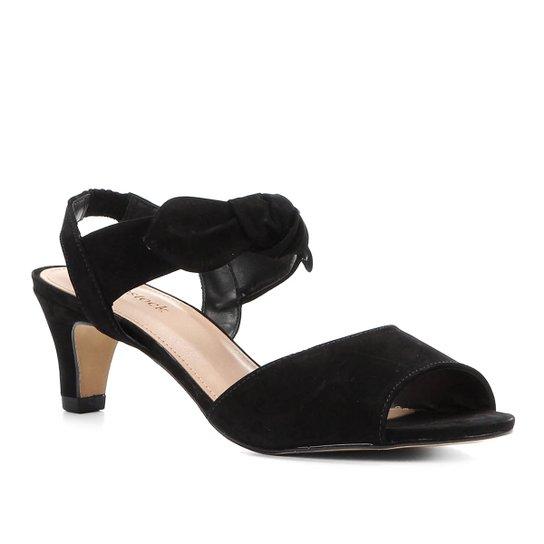 cd52728afc Sandália Couro Shoestock Nobuck Salto Baixo Laço Feminina - Preto ...