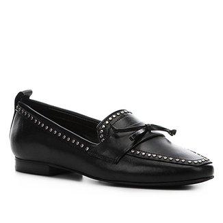 5e3d120038 Mocassim Couro Shoestock Loafer Mini Tachas Feminino
