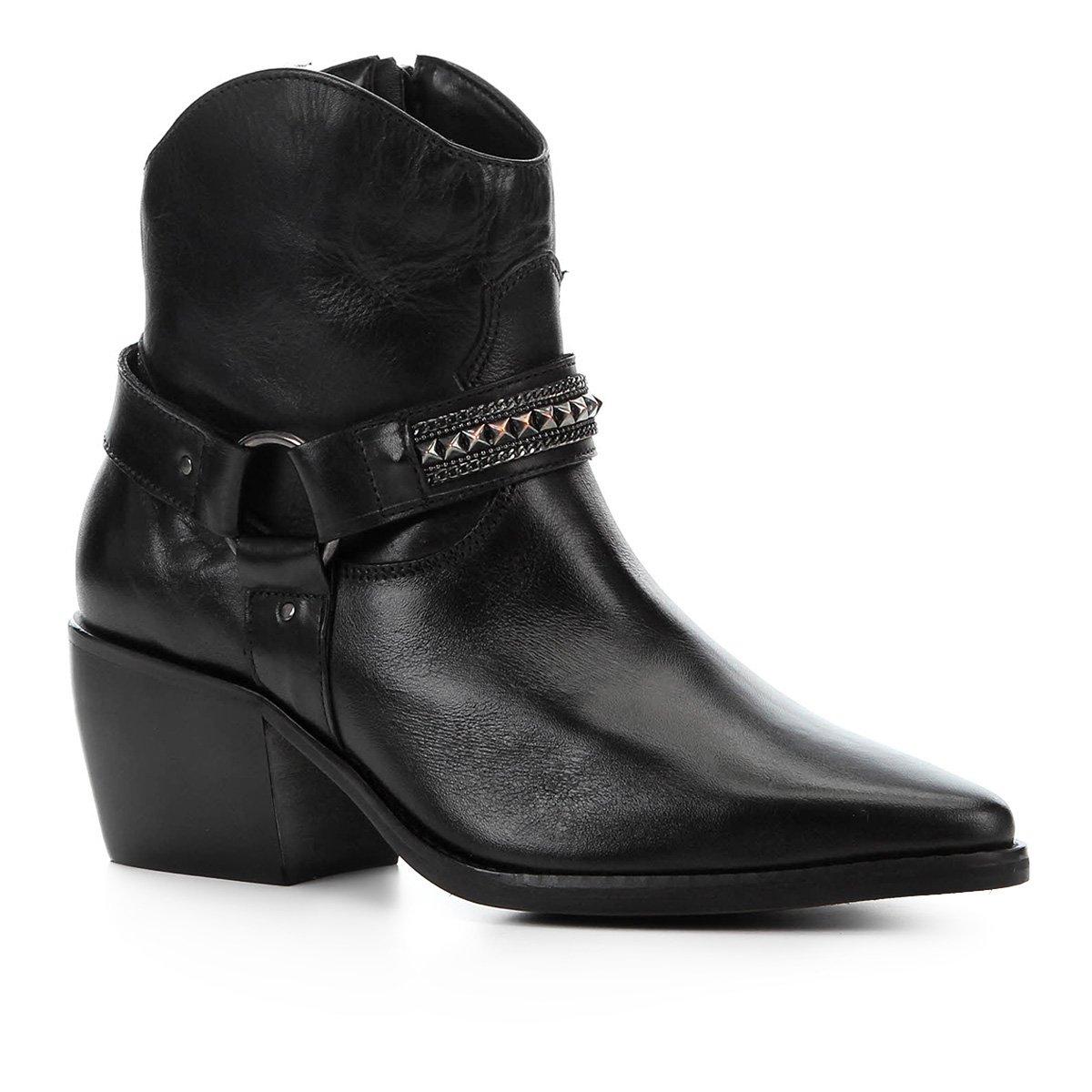 Bota Cano Curto Couro Shoestock Texas Feminina