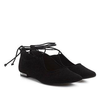2375fc332f Sapatilha Shoestock Bico Fino Nobuck Tiras Feminina