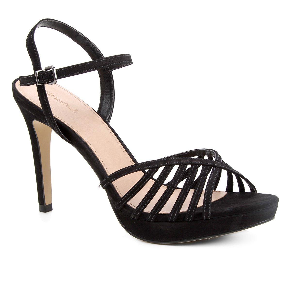 Sandália Couro Shoestock Meia Pata Salto Alto Feminina