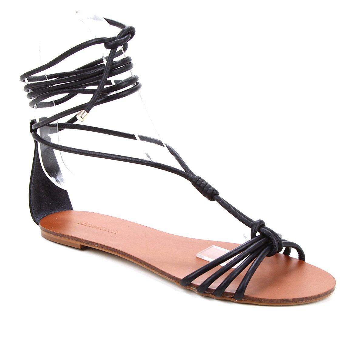 Rasteira Couro Shoestock Charm Tiras Com Amarração