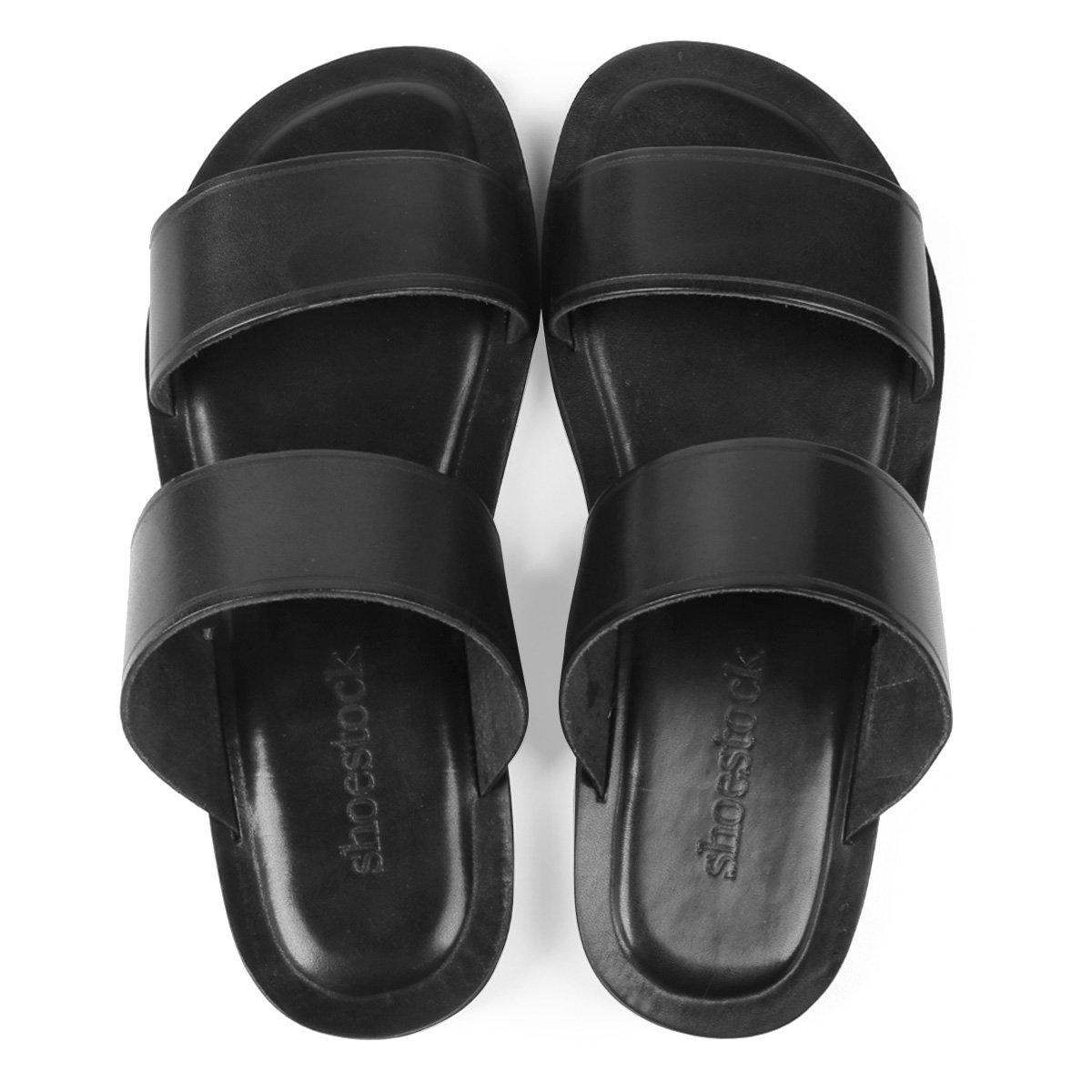 Chinelo Couro Shoestock Comfy Tiras Masculino