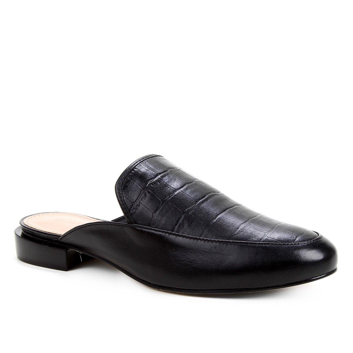 Mule Couro Shoestock Salto Baixo Croco