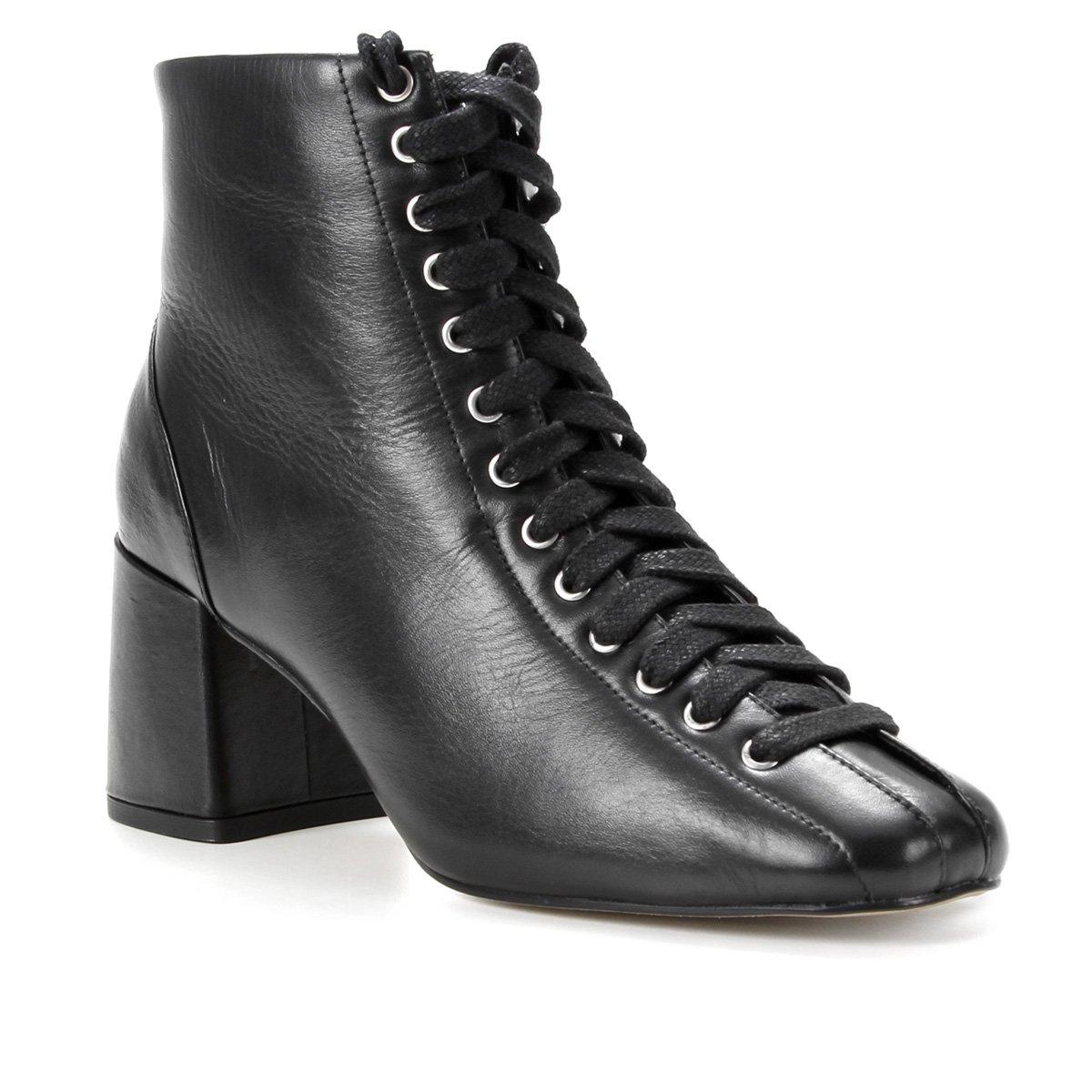 Bota Couro Shoestock Cano Curto Amarração Feminina